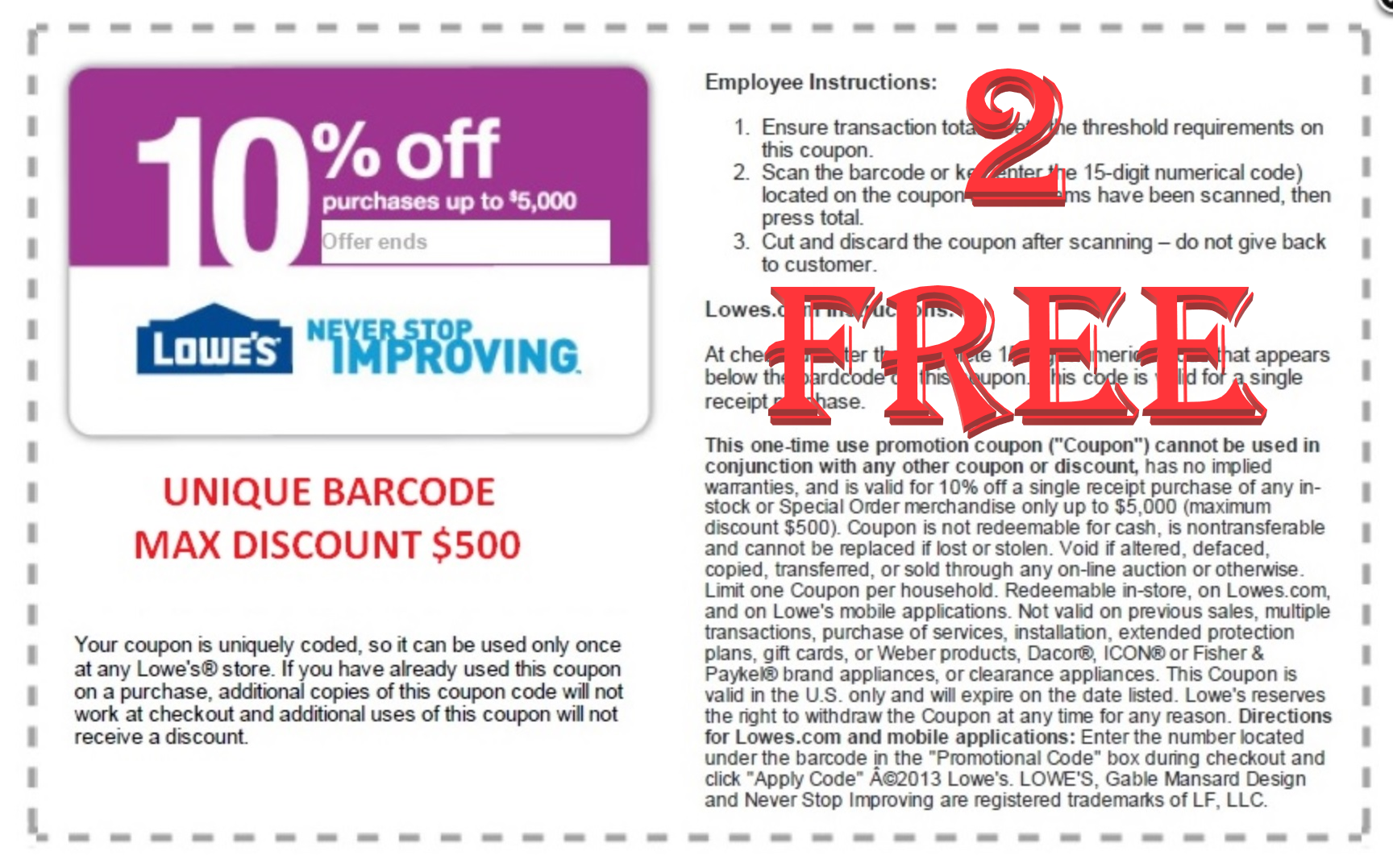 Buy Five (5) Lowes 10% off Coupons plus 2 FREE - By Email, What's